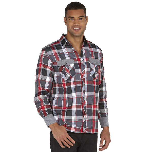 Get In Check Grey Plaid Button-Down - Citi Trends Mens - Front