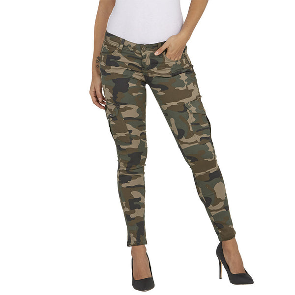 Stretch Back And Relax Camo Cargo Skinny Pant - Citi Trends Ladies and Plus - Front