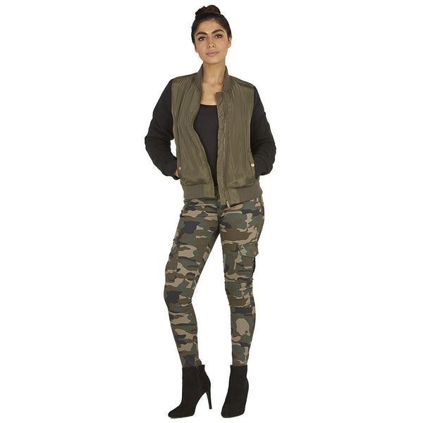 Street Style Chic Olive/Black Bomber Jacket - Citi Trends Ladies - Full-Length Front