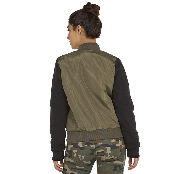 Street Style Chic Olive/Black Bomber Jacket - Citi Trends Ladies - Back