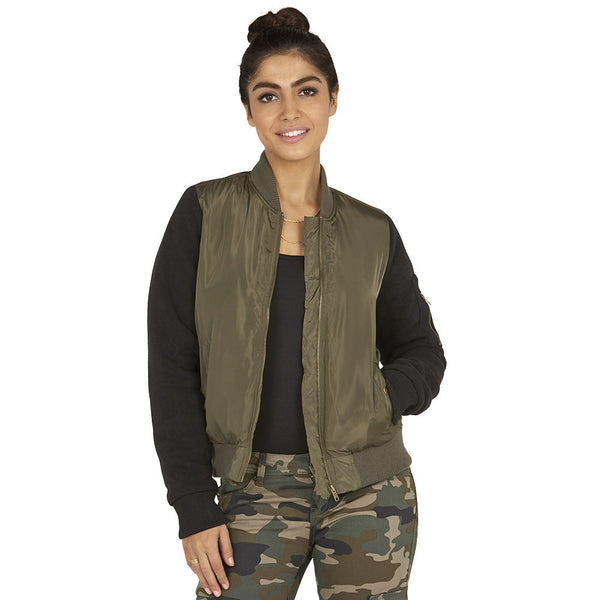 Street Style Chic Olive/Black Bomber Jacket - Citi Trends Ladies - Front