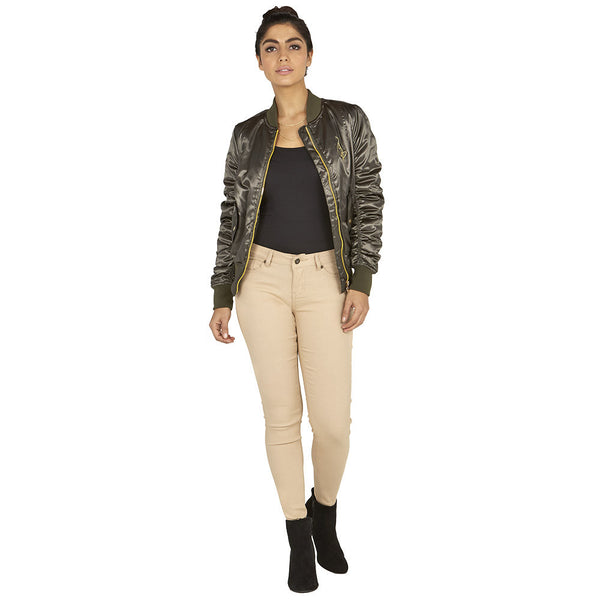 Slick-Chick Baby Phat Olive Satin Bomber Jacket With Ruched Sleeves - Citi Trends Ladies - Full-Length Front