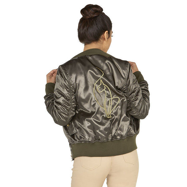 Slick-Chick Baby Phat Olive Satin Bomber Jacket With Ruched Sleeves - Citi Trends Ladies - Back