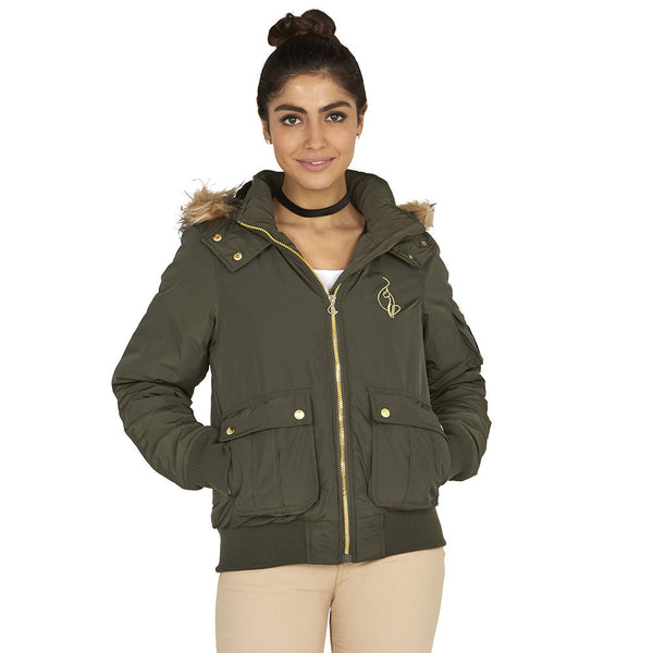 Lickety-split Baby Phat Olive Bomber Puffer Jacket - Citi Trends Plus and Ladies - Front