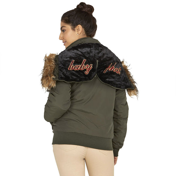 Lickety-split Baby Phat Olive Bomber Puffer Jacket - Citi Trends Plus and Ladies - Back