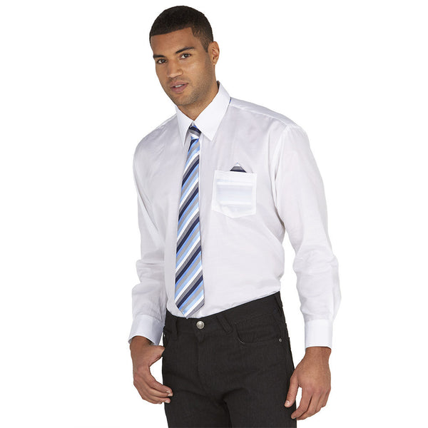 Dress To Impress White/Blue Stripe 3-Piece Dress Shirt Gift Box Set - Citi Trends Mens - Front