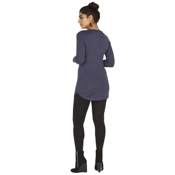 Round-Trip Navy Long-Sleeve Tunic - Citi Trends Ladies - Back