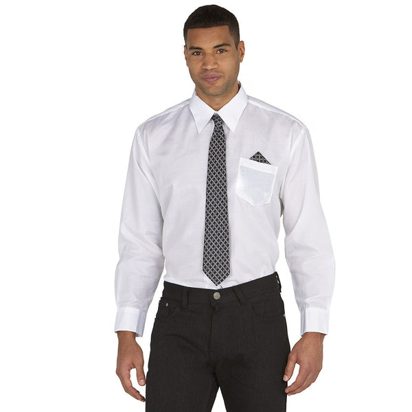 Dress To Impress White/Black Pattern 3-Piece Dress Shirt Gift Box Set - Citi Trends Mens - Front