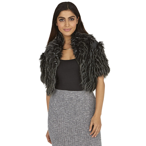 Fab 'N Furry Black/Grey Cropped Bolero - Citi Trends Ladies - Front
