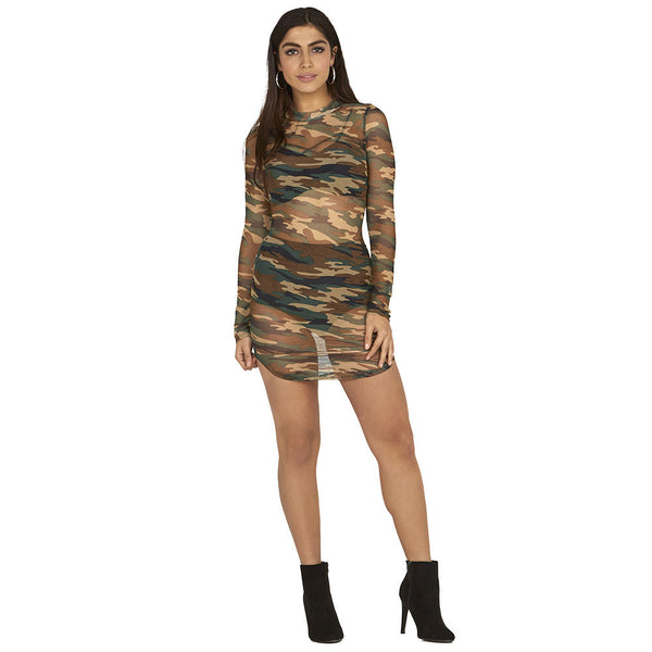 You Got Curved Camo Mock-Neck Mesh Dress - Citi Trends Ladies - Front