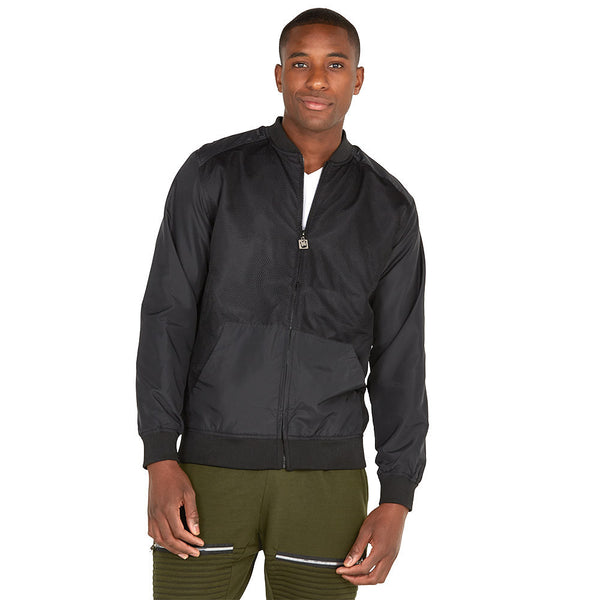 Safety Net Black Bomber Jacket With Mesh Overlay - Citi Trends Mens - Front