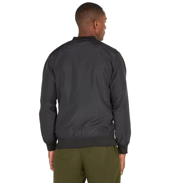 Safety Net Black Bomber Jacket With Mesh Overlay - Citi Trends Mens - Back