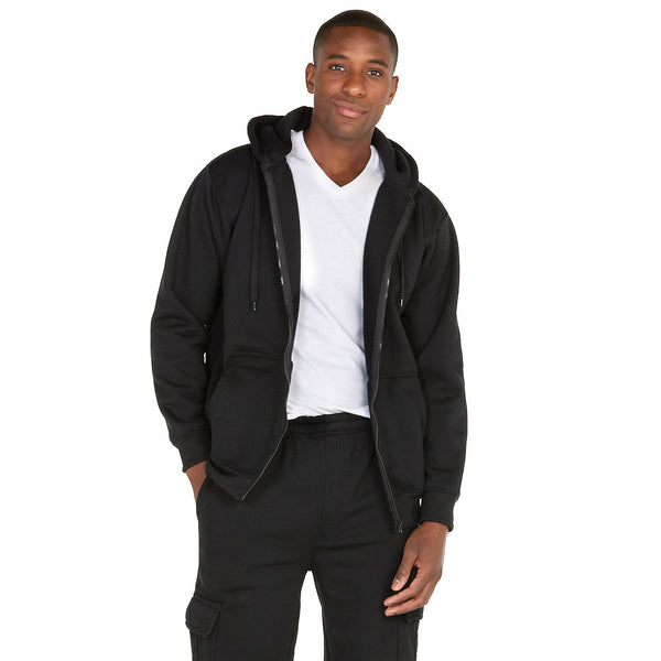 Chill Out Black Fleece Zip-Up Hoodie - Citi Trends Mens - Front