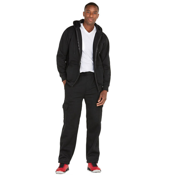 Chill Out Black Fleece Zip-Up Hoodie - Citi Trends Mens - Full-Length Front