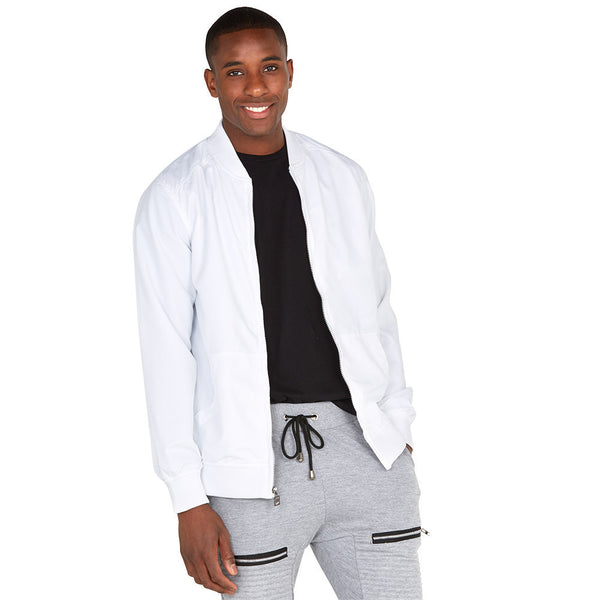 Safety Net White Bomber Jacket With Mesh Overlay - Citi Trends Mens - Front