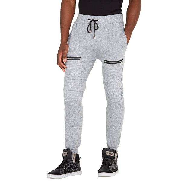 Zip To It Grey Fleece Moto Jogger - Citi Trends Mens - Front