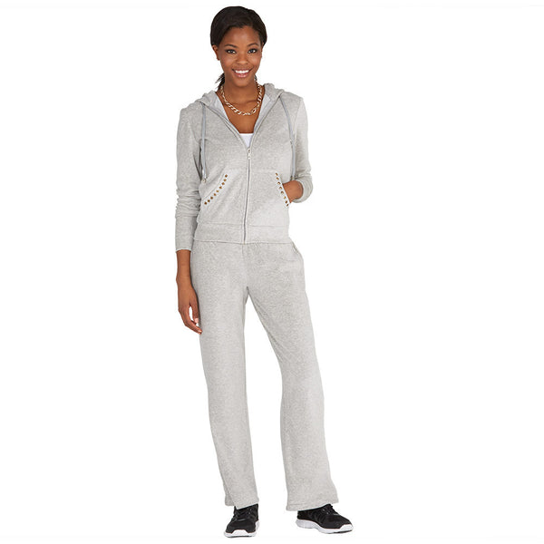 The Point Of Casual Grey Velour 2-Piece Set With Studded Pockets - Citi Trends Ladies - Front
