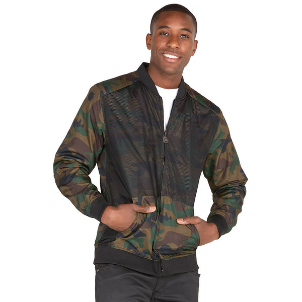 Safety Net Camo Bomber Jacket With Mesh Overlay - Citi Trends Mens - Front