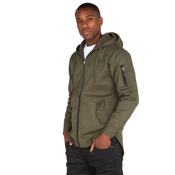 Top It Off Olive Fishtail-Hem Hooded Jacket - Citi Trends Mens - Front