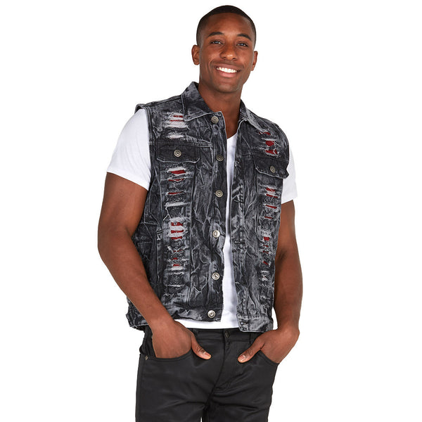 The Cutting-Edge Black Wash Rip And Repair Denim Vest - Citi Trends Mens - Front