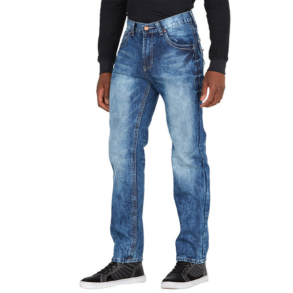 Classic With A Twist Medium Wash Jean With Embroidered Detail - Citi Trends Mens - Front