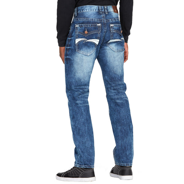 Classic With A Twist Medium Wash Jean With Embroidered Detail - Citi Trends Mens - Back