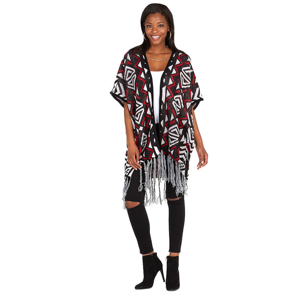 Aztec You Later Rust/Black Fringe-Hem Poncho - Citi Trends Ladies and Plus - Front