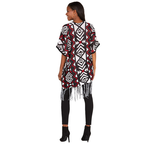 Aztec You Later Rust/Black Fringe-Hem Poncho - Citi Trends Ladies and Plus - Back