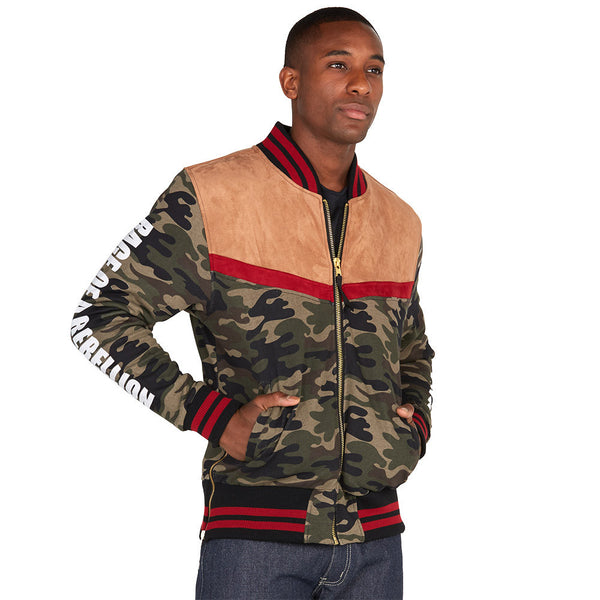 Mix It Up Camo Faux Suede Bomber Jacket - Citi Trends Mens - Front