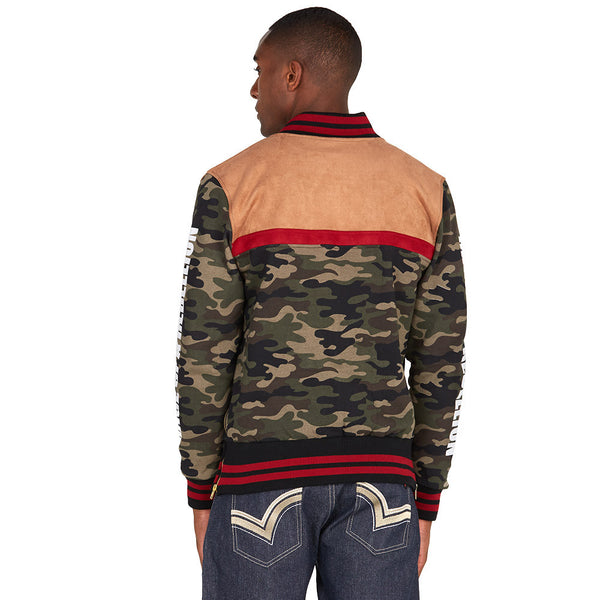 Mix It Up Camo Faux Suede Bomber Jacket - Citi Trends Mens - Back