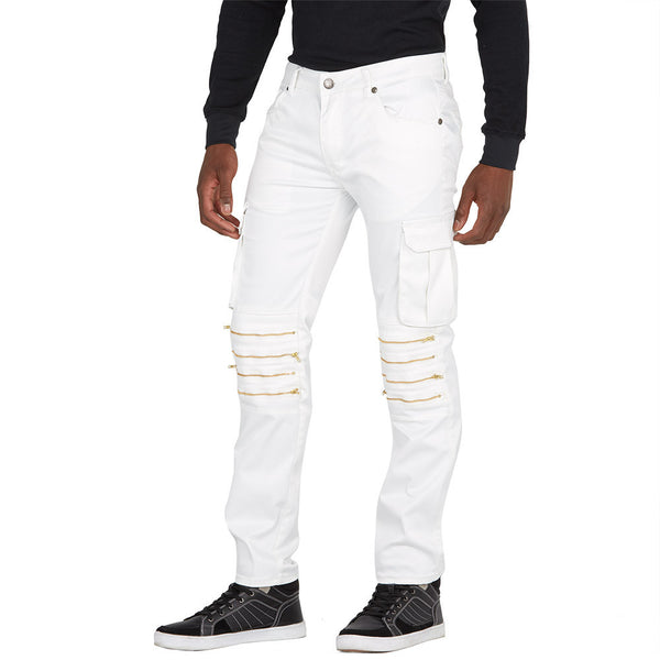 Full Of Zip White Slim Fit Stretch Moto Pant - Citi Trends Mens - Front