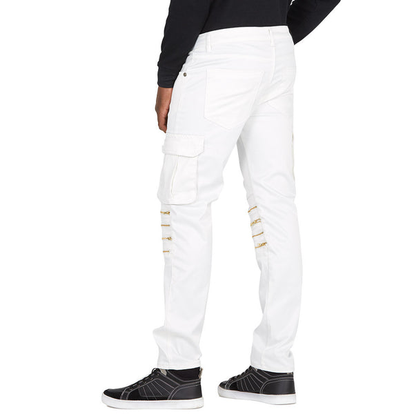 Full Of Zip White Slim Fit Stretch Moto Pant - Citi Trends Mens - Back