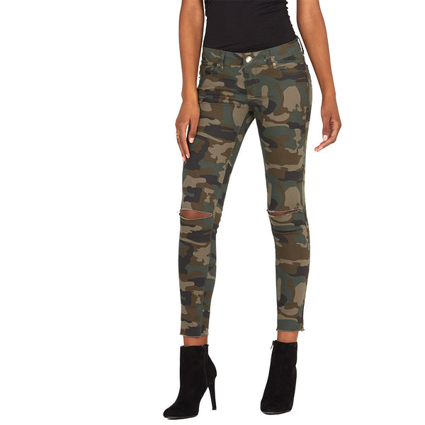 Slit Slicker Camo Stretch Skinny Ankle Jean - Citi Trends Plus and Ladies - Front