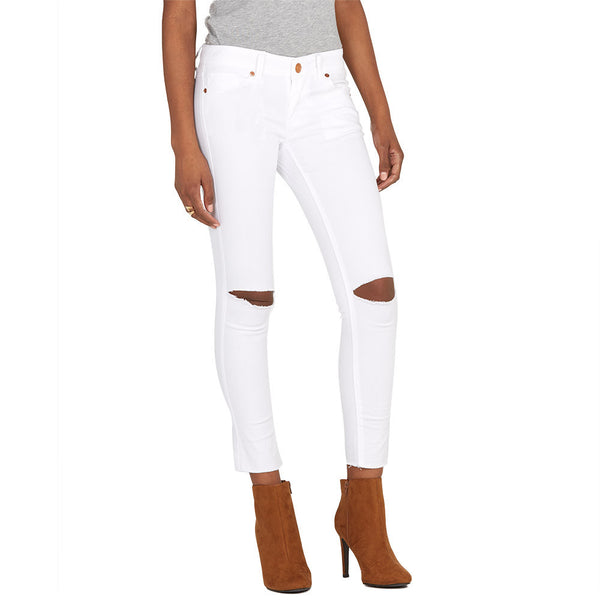Slit Slicker White Stretch Skinny Ankle Jean - Citi Trends Plus and Ladies - Front
