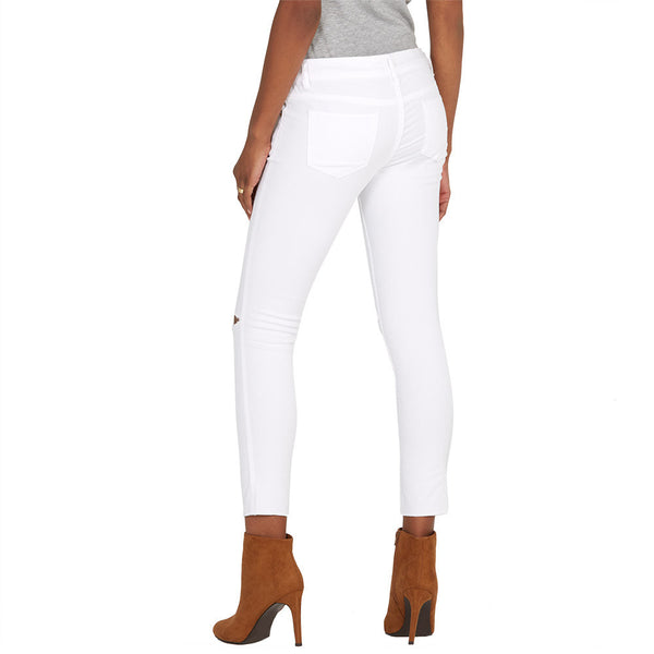 Slit Slicker White Stretch Skinny Ankle Jean - Citi Trends Plus and Ladies - Back