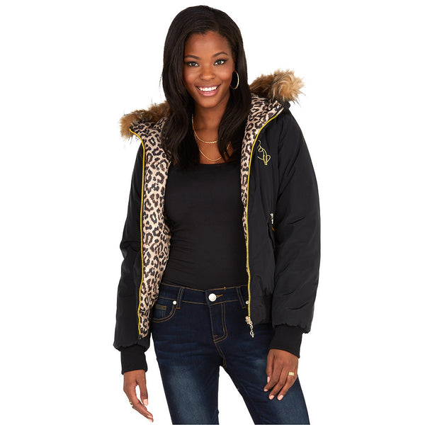 Spotted Undercover Baby Phat Black/Leopard Reversible Bomber Puffer Jacket - Citi Trends Ladies and Plus - Front