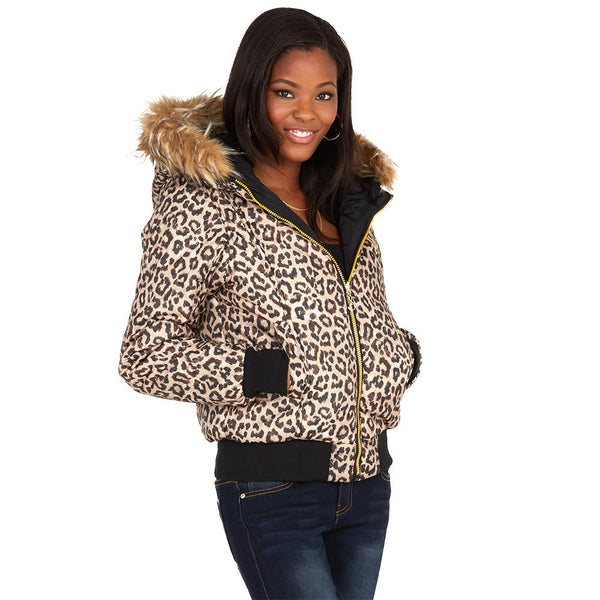 Spotted Undercover Baby Phat Black/Leopard Reversible Bomber Puffer Jacket - Citi Trends Ladies and Plus - Front Reverse