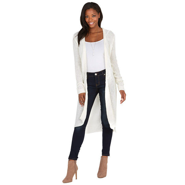 Layering Up Ivory Knit Duster Cardigan - Citi Trends Ladies and Plus - Front