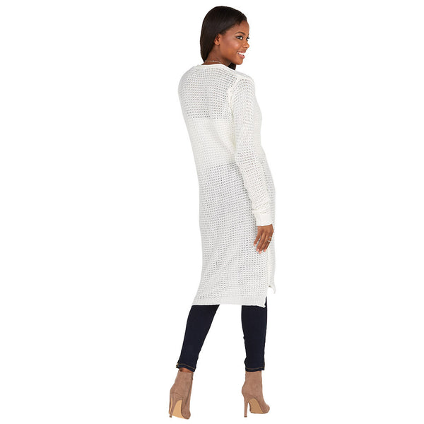 Layering Up Ivory Knit Duster Cardigan - Citi Trends Ladies and Plus - Back