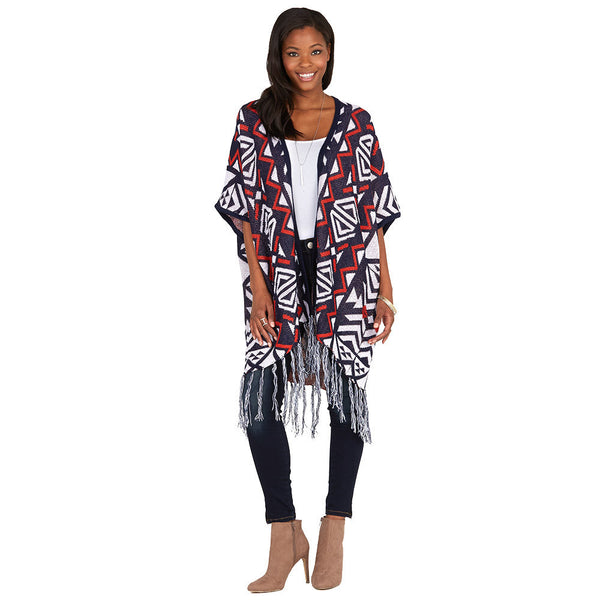 Aztec You Later Orange/Navy Fringe-Hem Poncho - Citi Trends Ladies and Plus - Front
