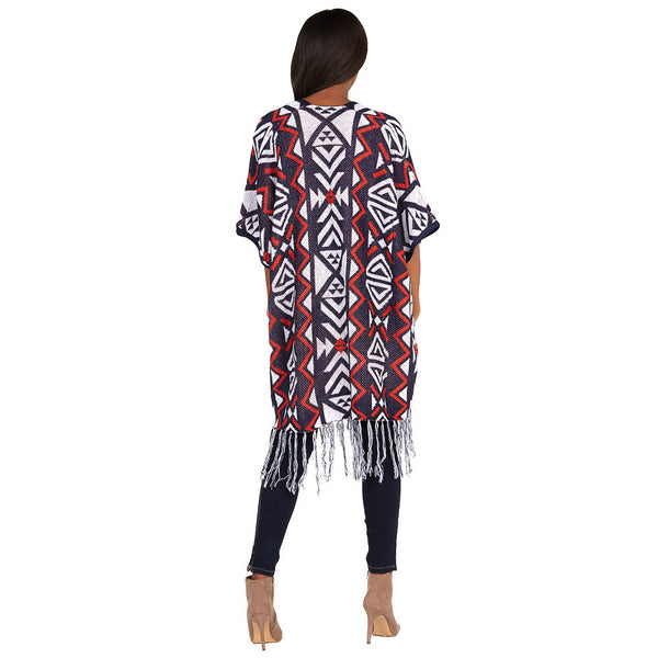 Aztec You Later Orange/Navy Fringe-Hem Poncho - Citi Trends Ladies and Plus - Back