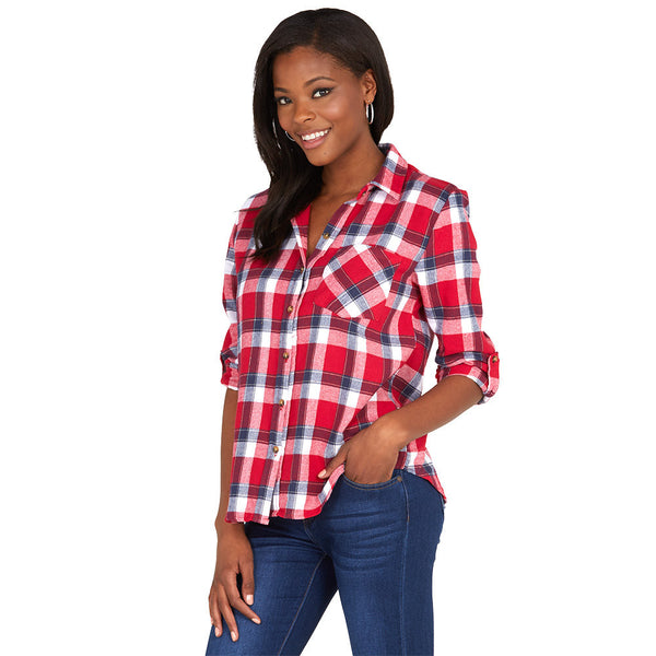 On Fleek Red/White Plaid Boyfriend Flannel Button-Up With Back Graphic - Citi Trends Ladies - Front