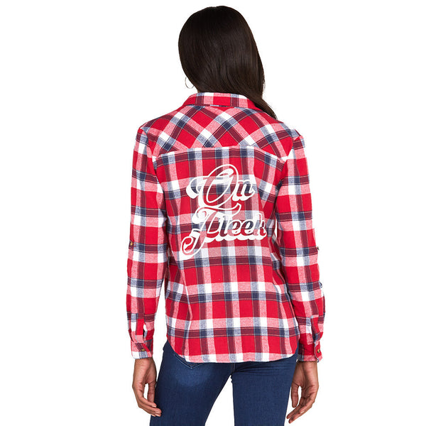 On Fleek Red/White Plaid Boyfriend Flannel Button-Up With Back Graphic - Citi Trends Ladies - Back