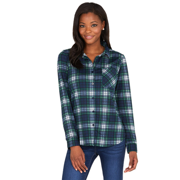Fetch! Navy/Green Plaid Boyfriend Flannel Button-Up - Citi Trends Ladies - Front