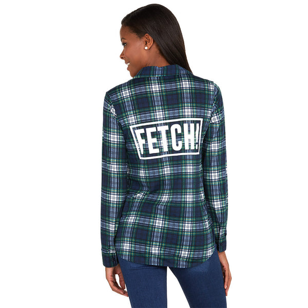 Fetch! Navy/Green Plaid Boyfriend Flannel Button-Up - Citi Trends Ladies - Back