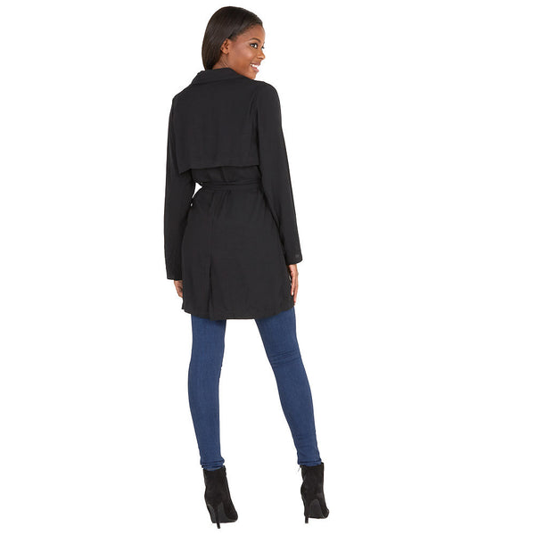 Layer On The Look Black Trench Coat - Citi Trends Ladies and Plus - Back