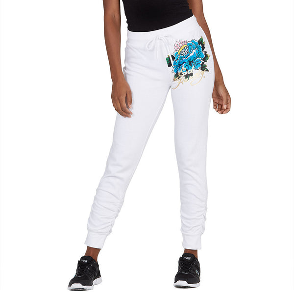The Floral Of The Story Ed Hardy White Fleece Jogger - Citi Trends Plus and Ladies - Front