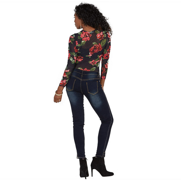 Petal Party Floral Mesh Bodysuit - Citi Trends Ladies - Back