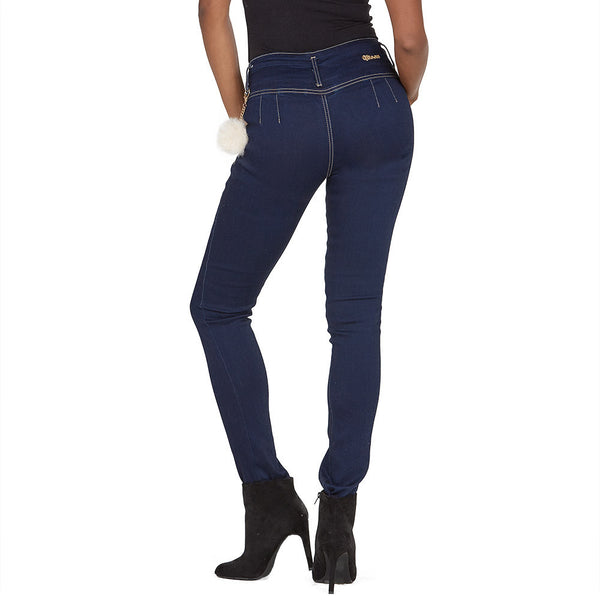 Pom Date High-Waist Dark Blue Skinny Jean - Citi Trends Ladies - Back