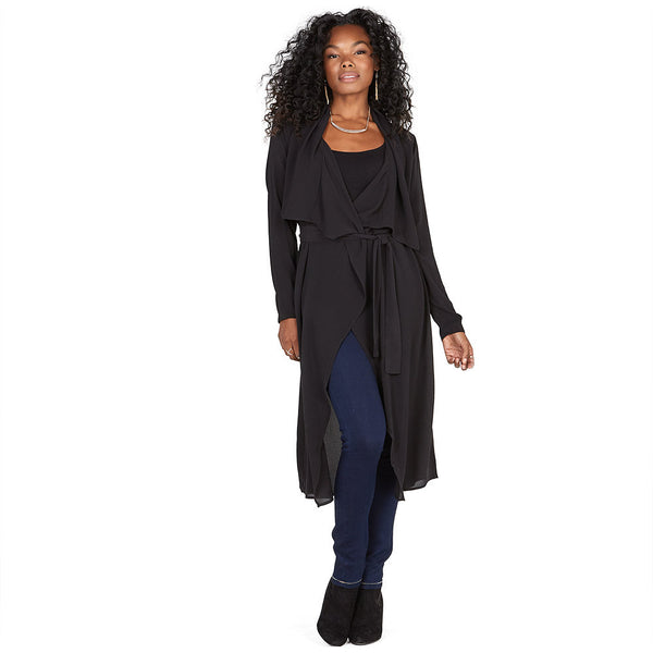 All Wrapped Up Black Belted Duster Coat - Citi Trends Ladies and Plus - Front